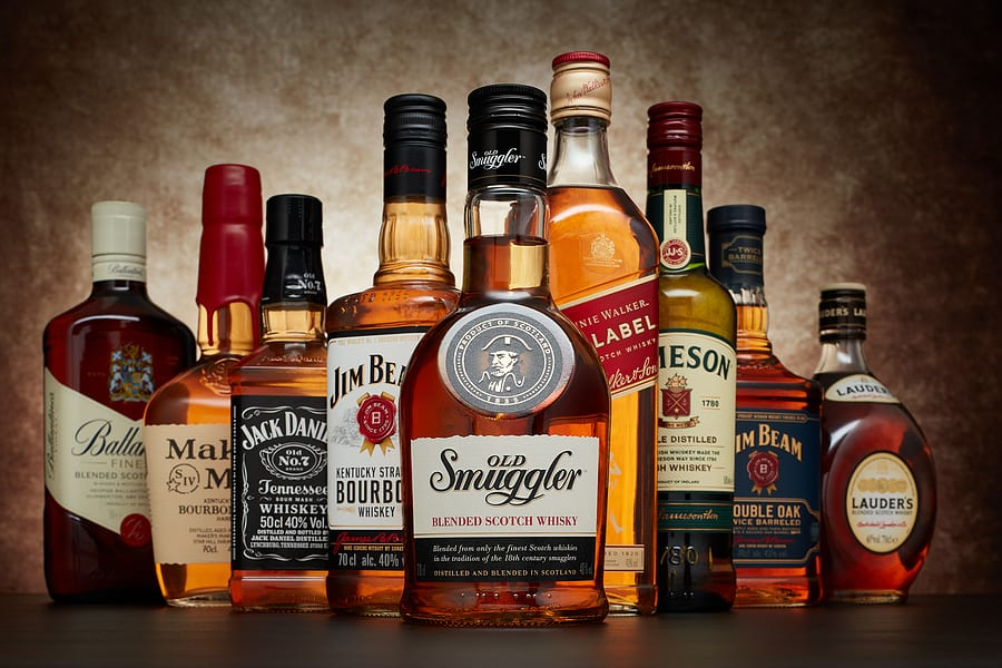 Scotch and whiskey bottles